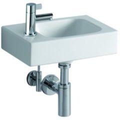 Geberit iCon XS handwasbakje 380x280 mm Keralith met kraangat links zonder overloop 65 kg wit 124836000