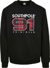 Zwarte Heren Crewneck Sweater Southpole Check Crew