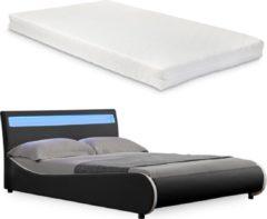 Merkloos / Sans marque Valencia LED - bed - matras en lattenbodem140x200 zwart