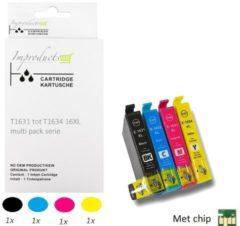 Paarse Improducts® Huismerk Inktcartridge Alternatief Epson 16XL 16 XL Multipack inktcartridges, 4 pack (1x zwart T1631, 1x cyaan T1632, 1x magenta T1633, 1x geel T1634) + 1x complete set