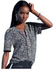 Blauwe Creation L blouse met topmodern minimal-dessin