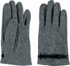 Sarlini fijn gebreide Dames handschoen Grijs met zwart riempje