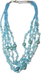 Boodz Korte Ketting Turquoise Parels en Schelpjes