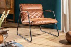 Interieurs online Retro fauteuil antiek lichtbruin met sierstiksels