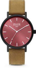 Rode Frank 1967 7FW-0006 Stalen Herenhorloge met lederen band bruin en rood Ø 42 mm