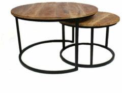 Zwarte Bronx71 Industriële salontafel set Jessie XL mangohout (set van 2) Ø80