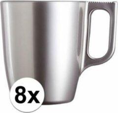 Luminarc 8x Zilveren koffie bekers/mokken 250 ml