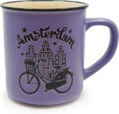 Matix Mok Amsterdam Bike 300 Ml Keramiek Paars/zwart