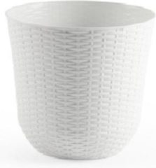 Forte Plastics 2x Ivoor witte plantenbakken/bloempotten 32 cm - Woon/tuinaccessoires/decoratie - Ronde bloempotten/plantenpotten voor binnen/buiten