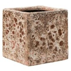 Baq Design Lava Relic Pink Cube bloempot binnen 16x16x16 cm