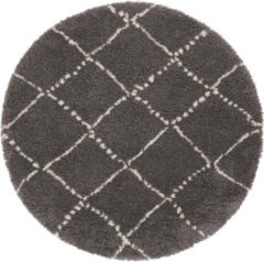 Mint rugs Rond hoogpolig vloerkleed Allure - donkergrijs/crème 120 cm rond