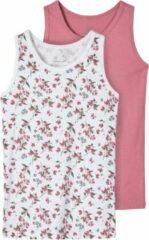 Roze NAME IT MINI NMFTANK TOP 2P HEATHER ROSE AOP NOOS Meisjes Onderhemd - Maat 92