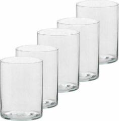 Transparante Trend Candles 5x Hoge theelichthouders/waxinelichthouders van glas 5,5 x 6,5 cm - Glazen kaarsenhouders - Woondecoraties