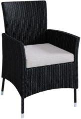 Polyrattan Stuhl Stühle Rattan Gartenstühle Sessel Gartensessel Schwarz VCM 1x Stuhl