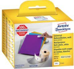 Avery-Zweckform Rol met etiketten Compatibel vervangt DYMO 11354, S0722540 57 x 32 mm Papier Wit 1000 stuk(s) Weer verwijderbaar Universele etiketten AS0722540