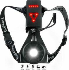Zwarte KW® LED veiligheids verlichting oplaadbaar voor en achter  One-size body light vest harnas  Hardlopen rennen joggen wielrennen fietsen hardloopvest kamperen  Sport outdoor waterdicht licht goed zichtbaar in het donker