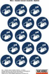 Blauwe Moire BV Pictogram sticker 75 stuks M011 - Handen wassen verplicht - 50 x 50mm - 15 stickers op 1 vel
