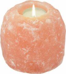 Oranje Himalaya Salt Dreams Himalaya Zout Theelichthouder ca. 1100 gr Rock. - Waxinelichthouder - Himalayazout - Salt - Lamp