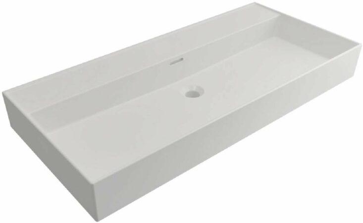 Afbeelding van Plieger Kansas wastafel zonder kraangaten met overloop 100x46.6cm matwit 271079 0271079