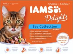 Iams Delights Sea Collection Jelly - Kat - Natvoer - 12 x 85 gr