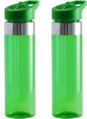 Bellatio Design Set van 2x stuks drinkfles/waterfles 650 ml groen van kunststof met draaidop en eenvoudige opening - Sport bidon - Waterflessen