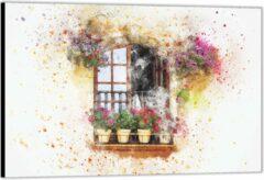 Roze KuijsFotoprint Dibond –Geschilderd Raamvenster met Bloempotten– 90x60 Foto op Aluminium (Wanddecoratie van metaal)