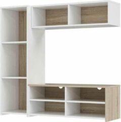 Anders PILVI tv-meubel - Wit en lichtgrijs beton - B 143,5 x D 40 x H 129 cm