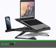 Groene Greenure Laptop Standaard Met Telefoonhouder - Ergonomische Laptop Standaard - Toetenbord Houder - Laptopstandaard Verstelbaar - Opvouwbaar - Geschikt voor alle laptops