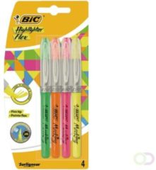 Markeerstift Bic flex ass blister à 4 kleuren