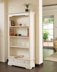 CLP Bücherschrank ELMER aus Mahagoniholz Handgefertigtes Holzregal mit vier Fächern und zwei Schubladen Massives Holzregal im Landhausstil In versc