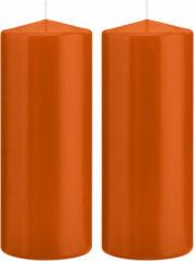 Trend Candles 2x Oranje cilinderkaarsen/stompkaarsen 8 x 20 cm 119 branduren - Geurloze kaarsen oranje - Woondecoraties