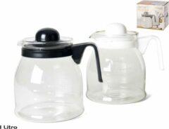 Merkloos / Sans marque Theepot met wit deksel en handvat 1 liter - Glazen thee/koffie potten - 1000 ml theepot