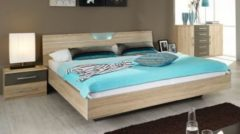 Rauch-PACKs Bett 180 x 200 cm mit Nako-Set Eiche Sonoma/ Abs. lavagrau RAUCH PACKS Valence Extra