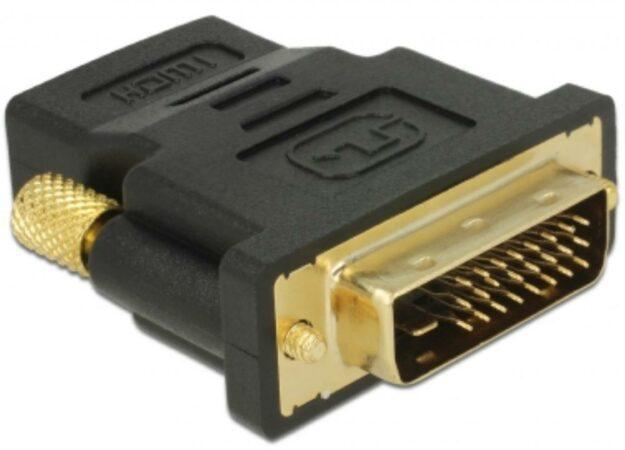 Afbeelding van DeLOCK 65466 kabeladapter/verloopstukje DVI 24+1 HDMI Zwart