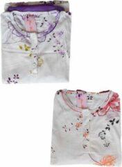 Fine Woman Dames pyjama katoen polyester gebloemd effen paars XXXL
