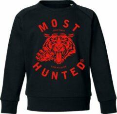 Most Hunted - kindersweater - tijger - zwart rood - maat 134/140cm