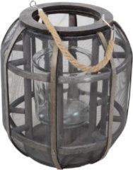 Grijze Lesliliving Houten lantaarn/windlicht met glas Lock 29 cm - Houten woonaccessoires - Tuindecoratie artikelen van hout