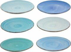 Merkloos / Sans marque Dinerborden (6 stuks) | Blauwe tinten | Ø26.5 | Dinerbord | Borden