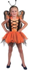 Funny Fashion Vlinder Kostuum | Oranje Vlinder Villeintje | Meisje | 5 - 8 jaar | Carnaval kostuum | Verkleedkleding