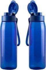 Bellatio Design Set van 2x stuks drinkfles/waterfles 820 ml blauw van Tritan kunststof - Sport bidon waterflessen