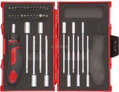 """Gedore Red Werkzeugsatz T-Griff mit Knarre, 1/4"""", 37-teilig, Steckschlüssel"""