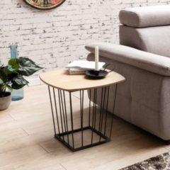 Wohnling Beistelltisch SKANDI Retro Design MDF-Holz Eiche 50 x 45 x 50 cm Wohnzimmertisch mit Metall-Gestell Ablagetisch Anstelltisch flach