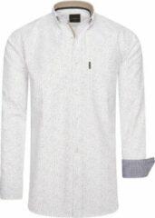 Cappuccino Italia - Heren Overhemden Regular Fit Overhemd Wit Dotted - Wit - Maat 4XL