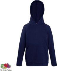 Marineblauwe Fruit of the Loom Kids hoodie - Maat 164 - Kleur Deep Navy
