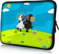 Blauwe Sleevy 15,6 inch laptophoes schapen - laptop sleeve - laptopcover - Collectie 250+ designs