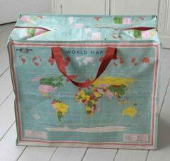 Rex International Vintage World Map - Reistas - XXL - Blauw