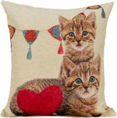 Rode Emme Kussenhoes Kittens met Slinger en Hart - Gobelin