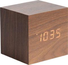 Karlsson Wekkers Alarm clock Mini Cube veneer, white LED Bruin