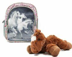 B&B Slagharen Rugtas Witte Paarden - Peuter Rugzak - 26cm - zilver glitter - Meisjes rugtas - schooltas - incl Paarden knuffel - pluche Pony - donker bruin