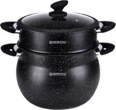 Zwarte Herzog HR-CP9M: 9L aluminium steen gecoate couscous pot